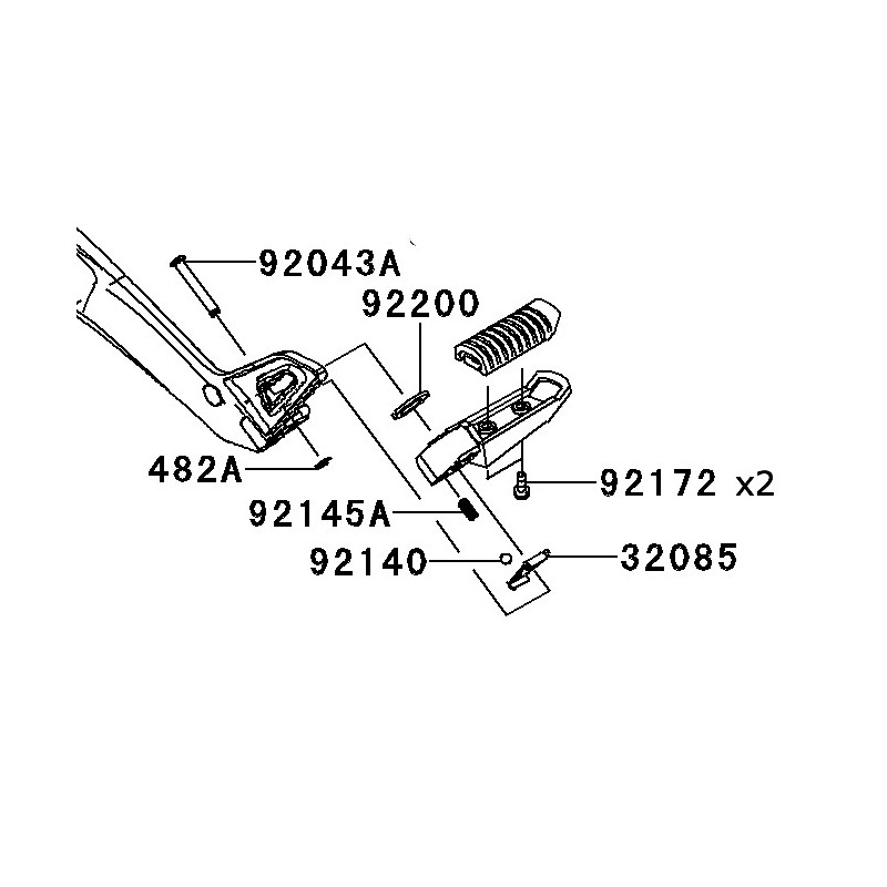 Kit Fixation Complet Repose Pied Arrière Kawasaki ER6n 650
