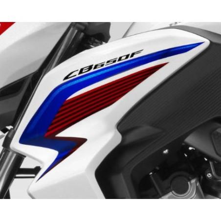 Autocollant Sticker Flanc Avant Gauche Honda CB650F TRICOLOR BLANC