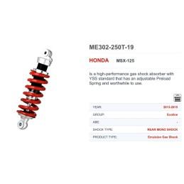Amortisseur Arrière YSS MB302 Honda MSX GROM 125